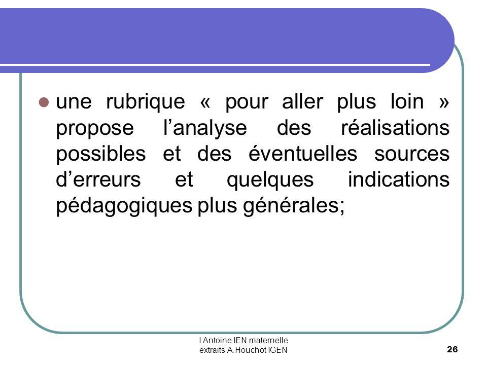 I.Antoine IEN maternelle extraits A.Houchot IGEN 26 une rubrique « pour aller plus loin » propose lanalyse des réalisations possibles et des éventuell
