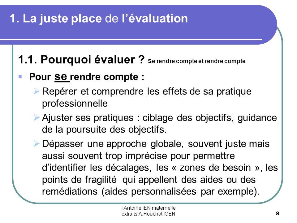 I.Antoine IEN maternelle extraits A.Houchot IGEN 8 1. La juste place de lévaluation 1.1. Pourquoi évaluer ? Se rendre compte et rendre compte Pour se