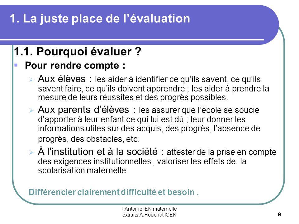I.Antoine IEN maternelle extraits A.Houchot IGEN 9 1. La juste place de lévaluation 1.1. Pourquoi évaluer ? Pour rendre compte : Aux élèves : les aide