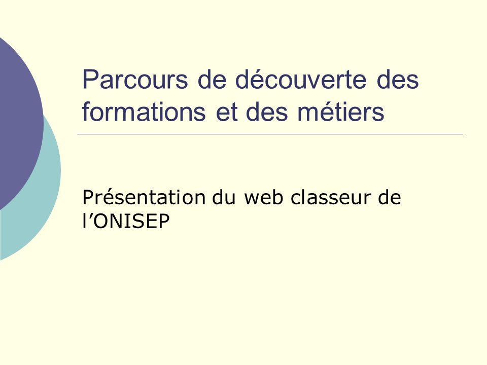 Parcours de découverte des formations et des métiers Présentation du web classeur de lONISEP