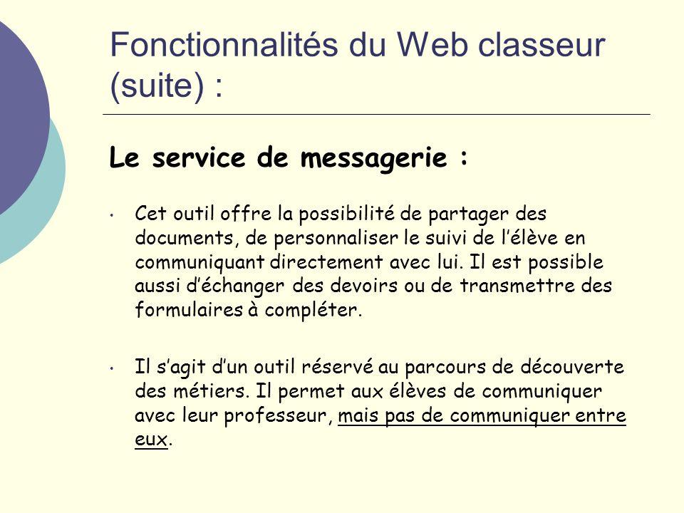 Fonctionnalités du Web classeur (suite) : Le service de messagerie : Cet outil offre la possibilité de partager des documents, de personnaliser le suivi de lélève en communiquant directement avec lui.