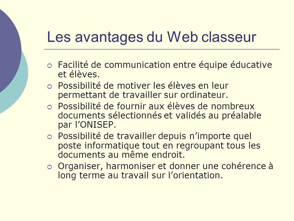 Les avantages du Web classeur Facilité de communication entre équipe éducative et élèves.