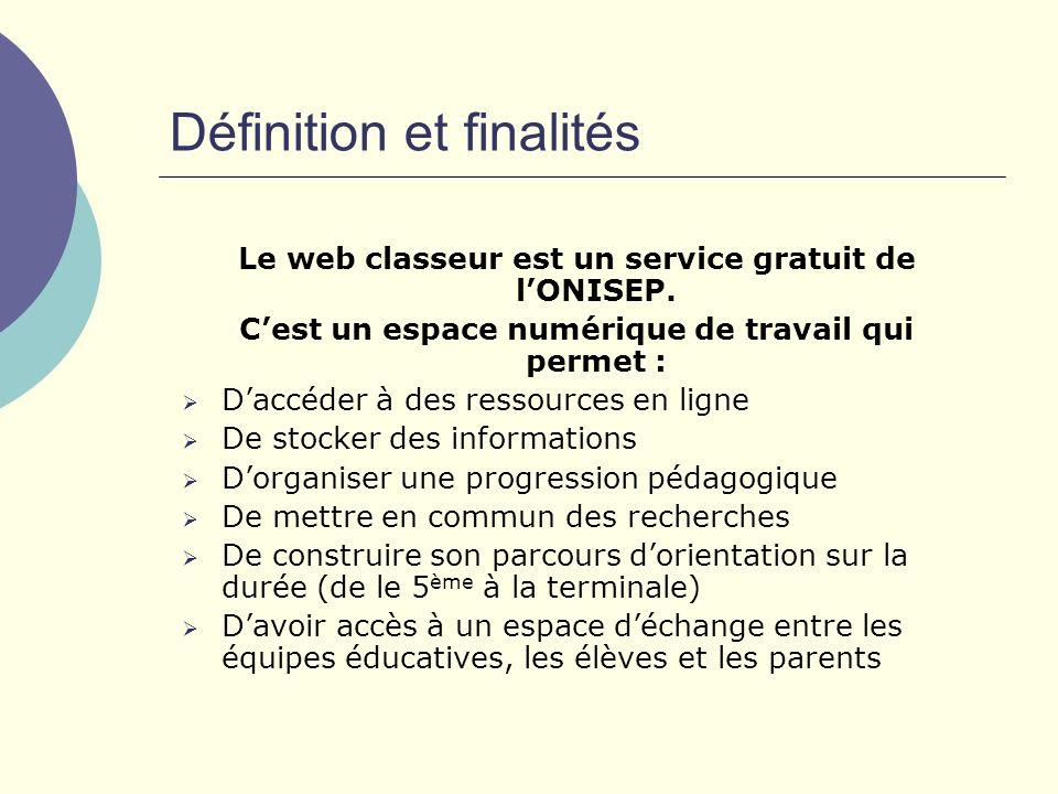 Définition et finalités Le web classeur est un service gratuit de lONISEP.