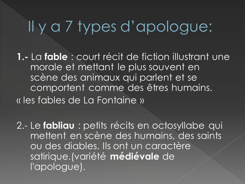 1.- La fable : court récit de fiction illustrant une morale et mettant le plus souvent en scène des animaux qui parlent et se comportent comme des êtr