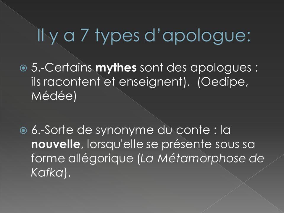 5.-Certains mythes sont des apologues : ils racontent et enseignent). (Oedipe, Médée) 6.-Sorte de synonyme du conte : la nouvelle, lorsqu'elle se prés