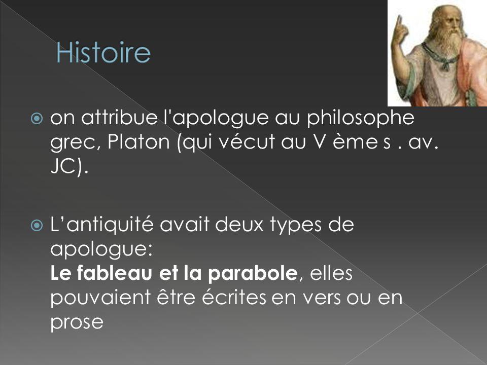 on attribue l'apologue au philosophe grec, Platon (qui vécut au V ème s. av. JC). Lantiquité avait deux types de apologue: Le fableau et la parabole,