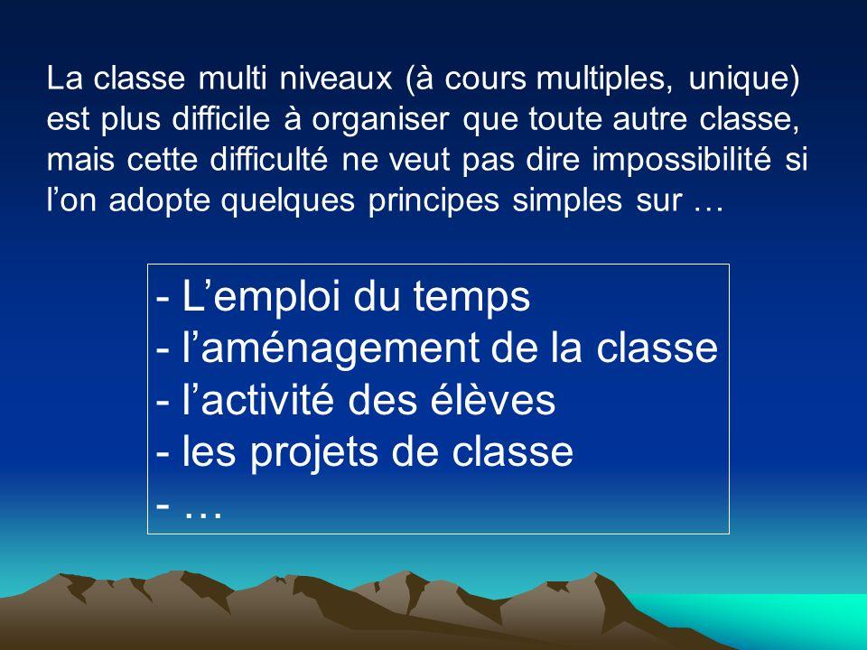 La classe multi niveaux (à cours multiples, unique) est plus difficile à organiser que toute autre classe, mais cette difficulté ne veut pas dire impo
