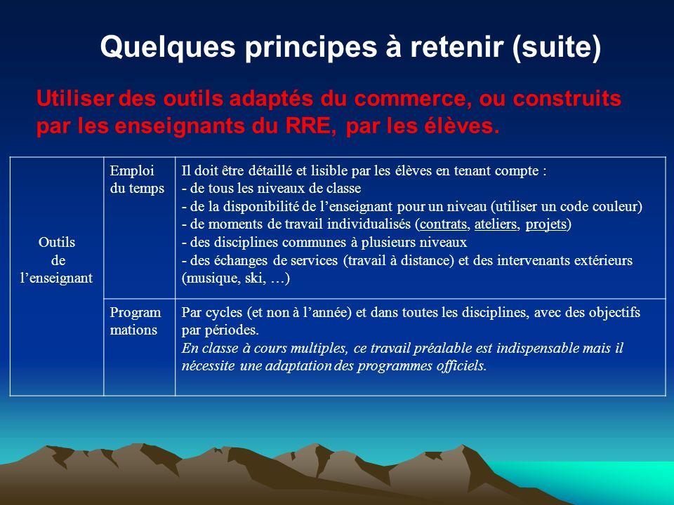 Quelques principes à retenir (suite) Utiliser des outils adaptés du commerce, ou construits par les enseignants du RRE, par les élèves. Outils de lens