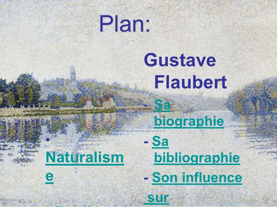 Plan: Gustave Flaubert -Sa biographieSa biographie - Sa bibliographieSa bibliographie - Son influenceSon influence sur Maupassant Naturalism e Natural