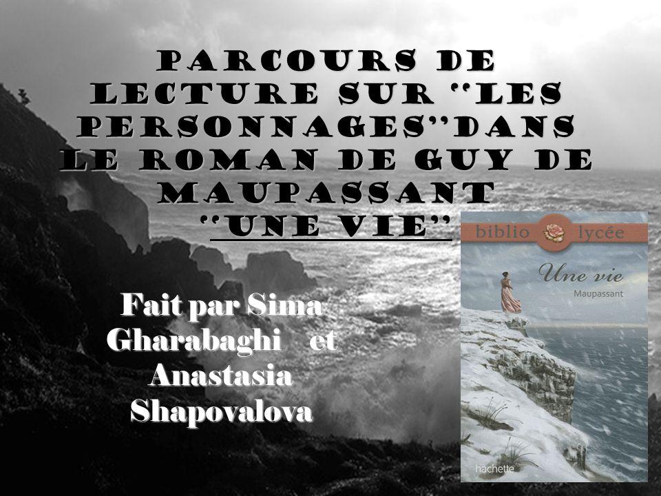 Parcours de lecture Sur les personnagesDans le roman de guy de MaupassantUne vie Fait par Sima Gharabaghi et Anastasia Shapovalova
