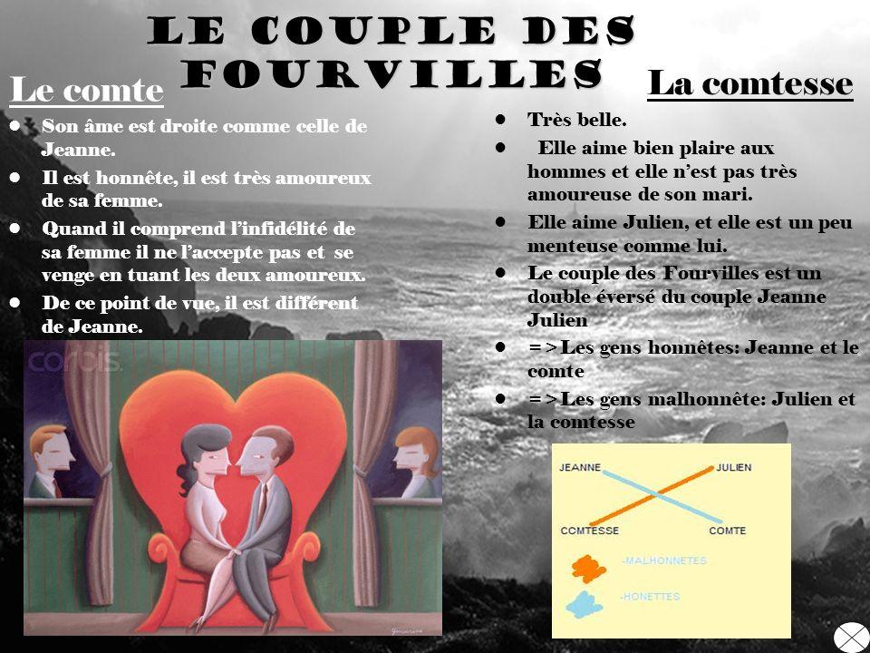 LE couple des Fourvilles Le comte Son âme est droite comme celle de Jeanne. Il est honnête, il est très amoureux de sa femme. Quand il comprend linfid