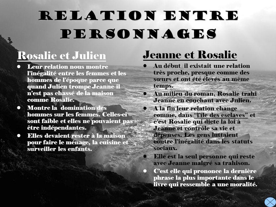 Relation entre personnages Rosalie et Julien Leur relation nous montre linégalité entre les femmes et les hommes de lépoque parce que quand Julien tro