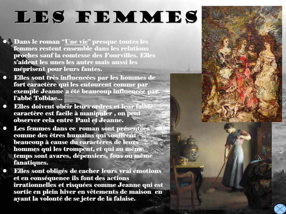 Les Femmes Dans le roman Une vie presque toutes les femmes restent ensemble dans les relations proches sauf la comtesse des Fourvilles. Elles saident