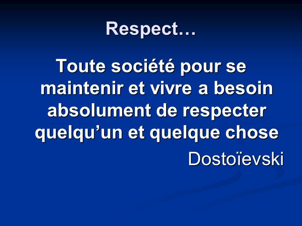 Respect… Toute société pour se maintenir et vivre a besoin absolument de respecter quelquun et quelque chose Dostoïevski