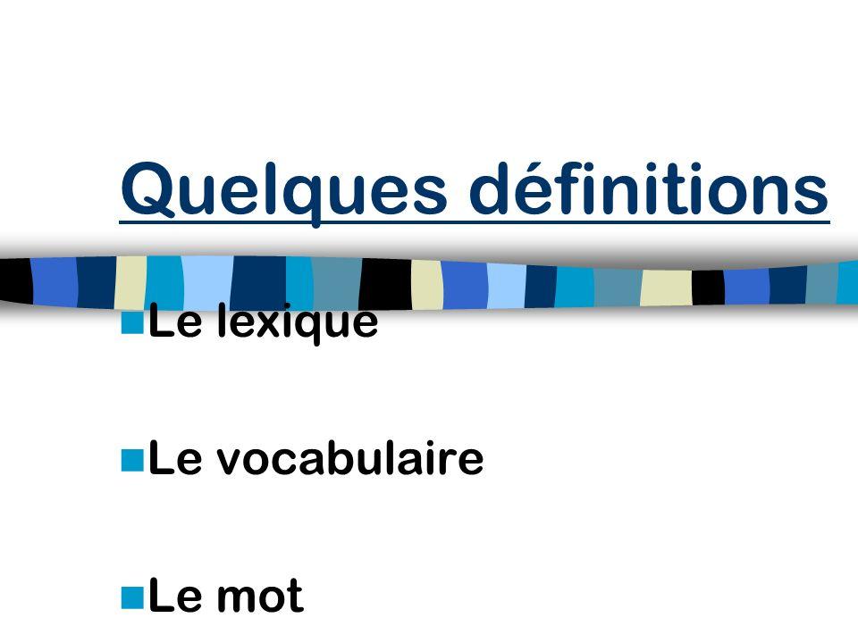 Quelques définitions Le développement du vocabulaire Pourquoi apprendre le vocabulaire ? Le vocabulaire