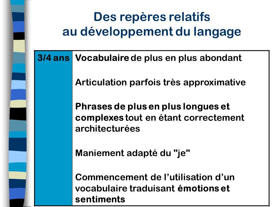 Des repères relatifs au développement du langage 18 mois /3 ans Période dacquisition rapide dans laquelle les noms précèdent les autres catégories (ve