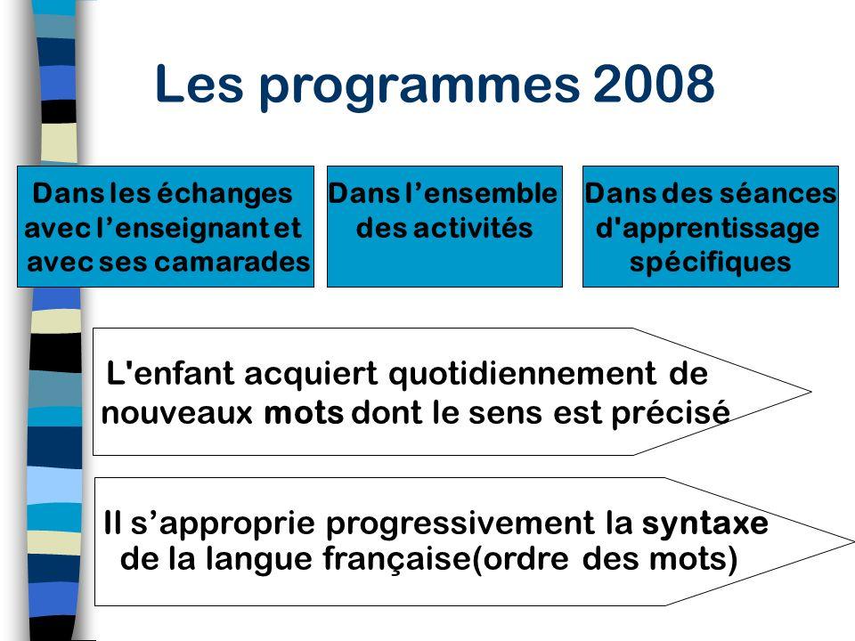 Les programmes 2008 Lobjectif essentiel de lécole maternelle est lacquisition dun langage oral riche, organisé et compréhensible par lautre. Le langag