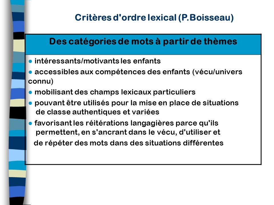 Critères d ordre syntaxique (P.