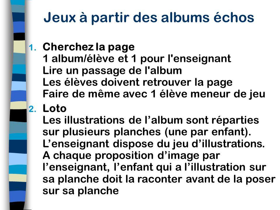 Réalisation des albums échos Constituer des albums que n'importe quel enfant peut raconter (pour les trois ans, ne pas dépasser six, sept photos...) P
