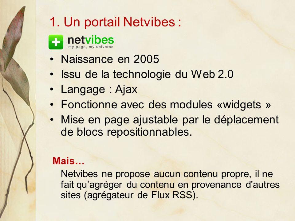 Naissance en 2005 Issu de la technologie du Web 2.0 Langage : Ajax Fonctionne avec des modules «widgets » Mise en page ajustable par le déplacement de blocs repositionnables.