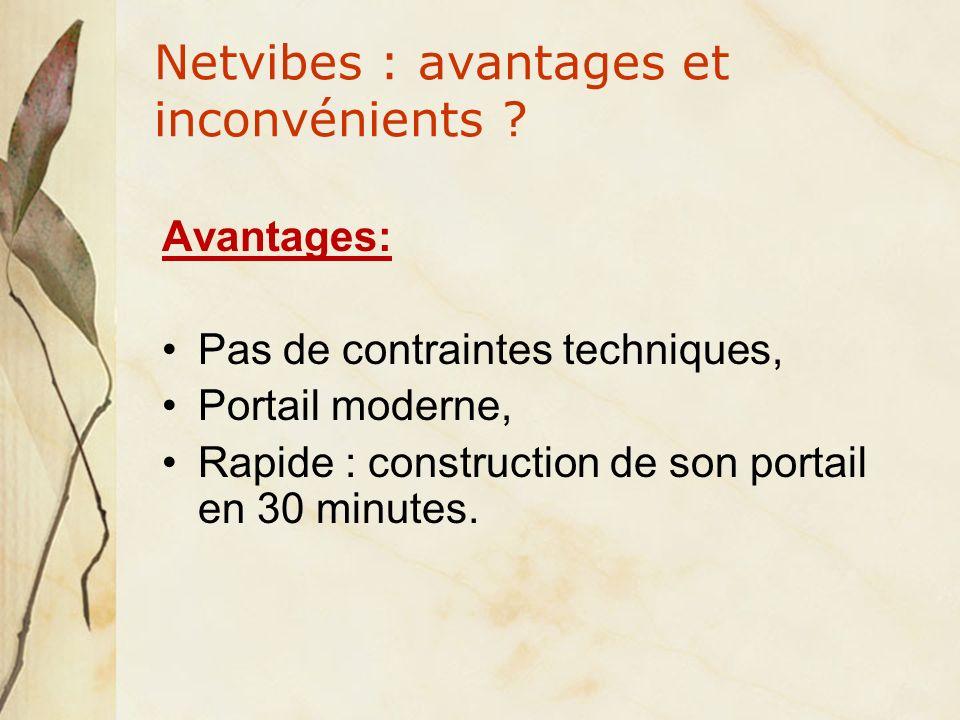 Netvibes : avantages et inconvénients .