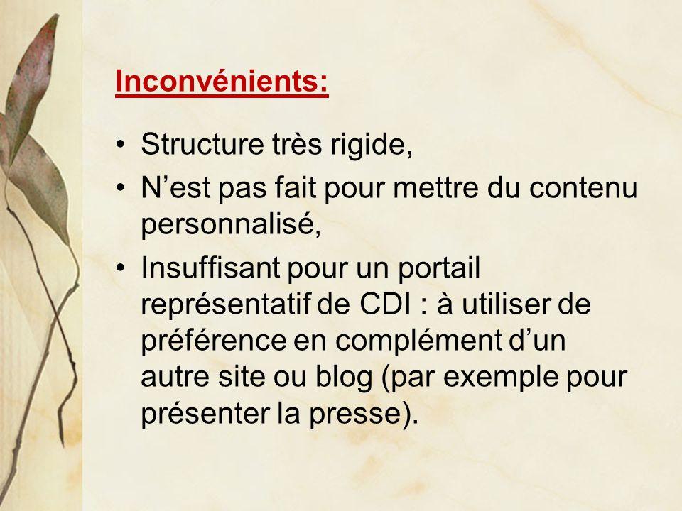 Inconvénients: Structure très rigide, Nest pas fait pour mettre du contenu personnalisé, Insuffisant pour un portail représentatif de CDI : à utiliser de préférence en complément dun autre site ou blog (par exemple pour présenter la presse).