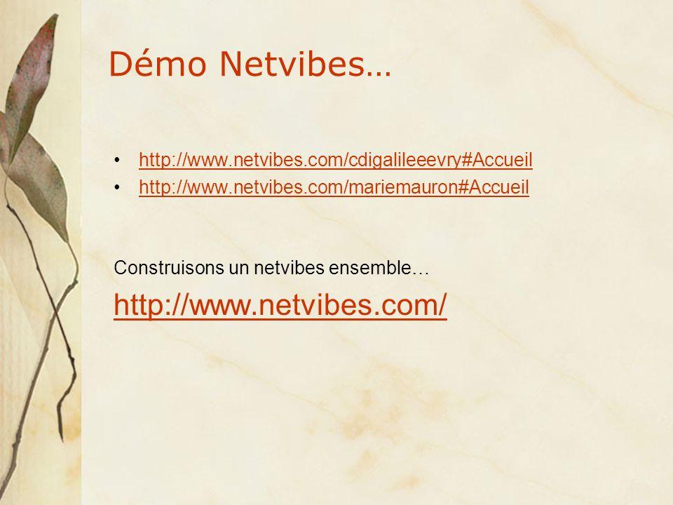 Démo Netvibes… http://www.netvibes.com/cdigalileeevry#Accueil http://www.netvibes.com/mariemauron#Accueil Construisons un netvibes ensemble… http://www.netvibes.com/