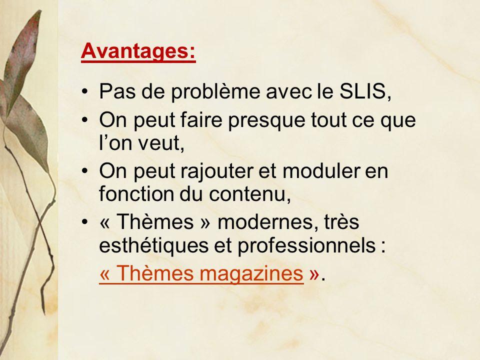 Avantages: Pas de problème avec le SLIS, On peut faire presque tout ce que lon veut, On peut rajouter et moduler en fonction du contenu, « Thèmes » modernes, très esthétiques et professionnels : « Thèmes magazines« Thèmes magazines ».