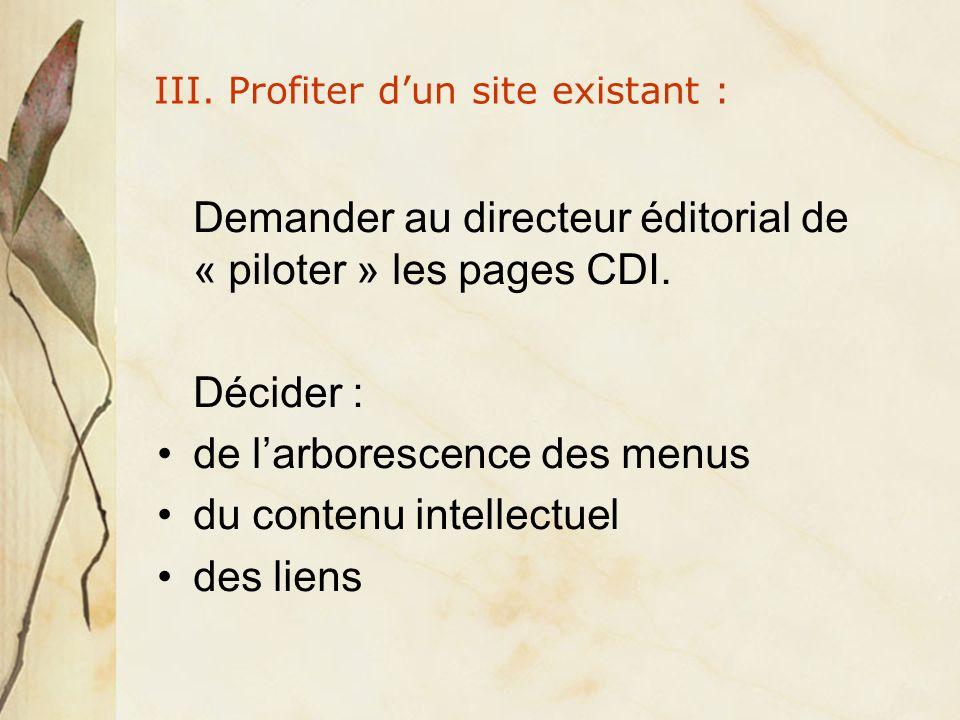 III. Profiter dun site existant : Demander au directeur éditorial de « piloter » les pages CDI.