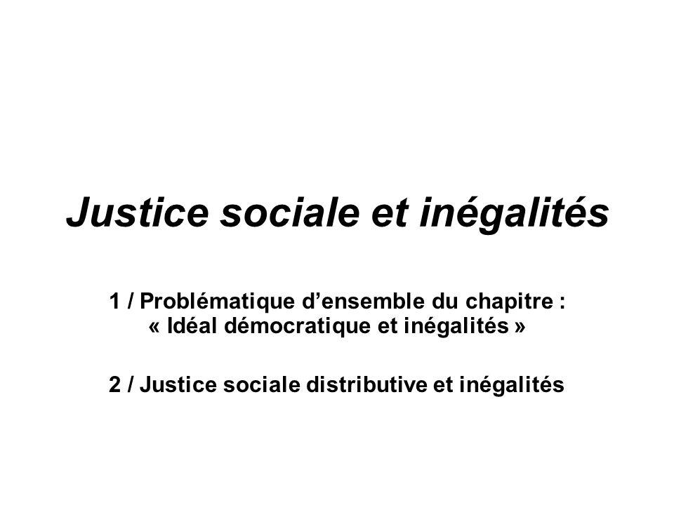 Justice sociale et inégalités 1 / Problématique densemble du chapitre : « Idéal démocratique et inégalités » 2 / Justice sociale distributive et inéga