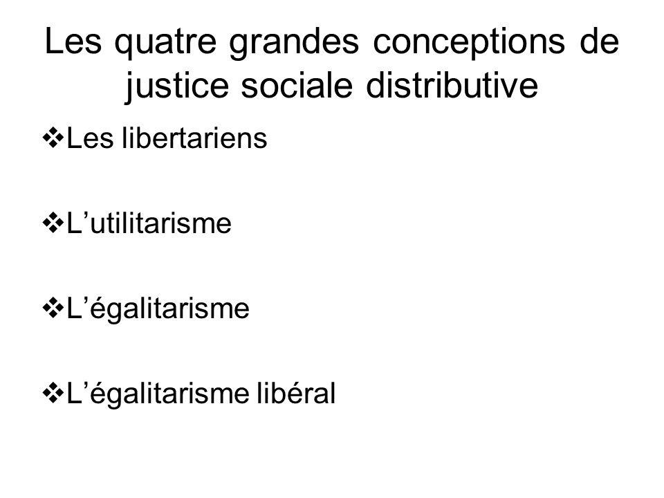 Les quatre grandes conceptions de justice sociale distributive Les libertariens Lutilitarisme Légalitarisme Légalitarisme libéral