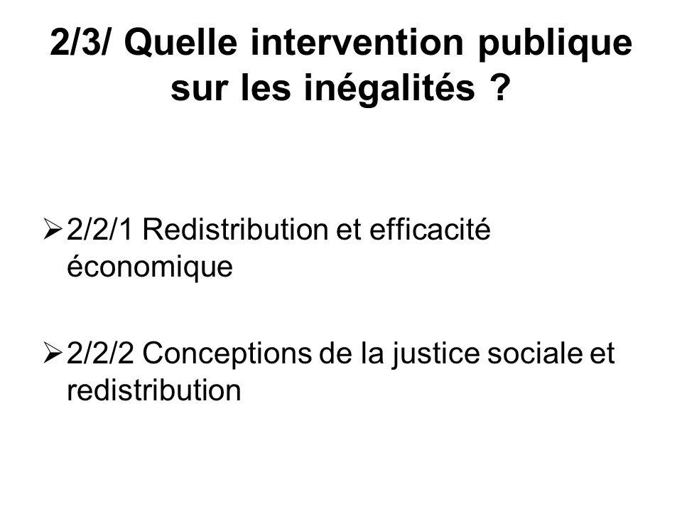 2/3/ Quelle intervention publique sur les inégalités ? 2/2/1 Redistribution et efficacité économique 2/2/2 Conceptions de la justice sociale et redist