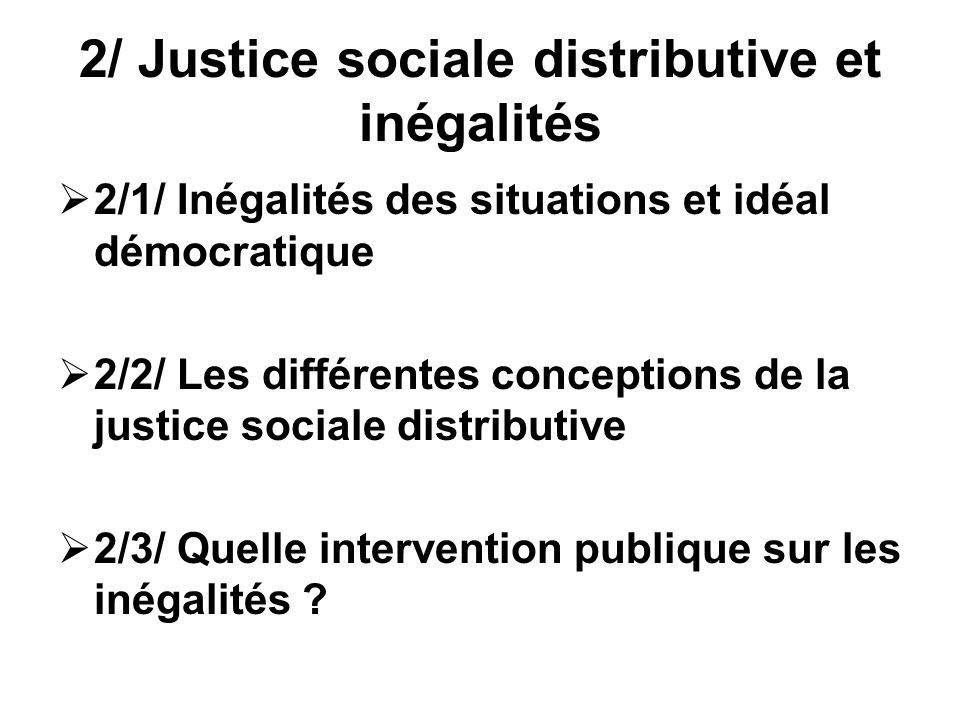 2/ Justice sociale distributive et inégalités 2/1/ Inégalités des situations et idéal démocratique 2/2/ Les différentes conceptions de la justice soci