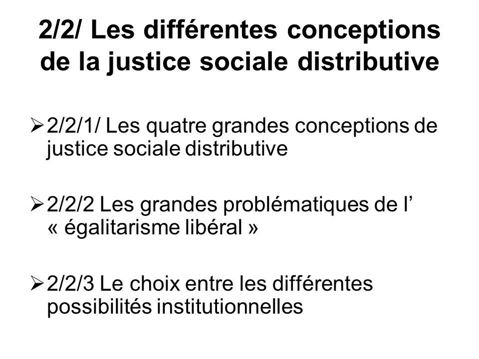 2/2/ Les différentes conceptions de la justice sociale distributive 2/2/1/ Les quatre grandes conceptions de justice sociale distributive 2/2/2 Les gr
