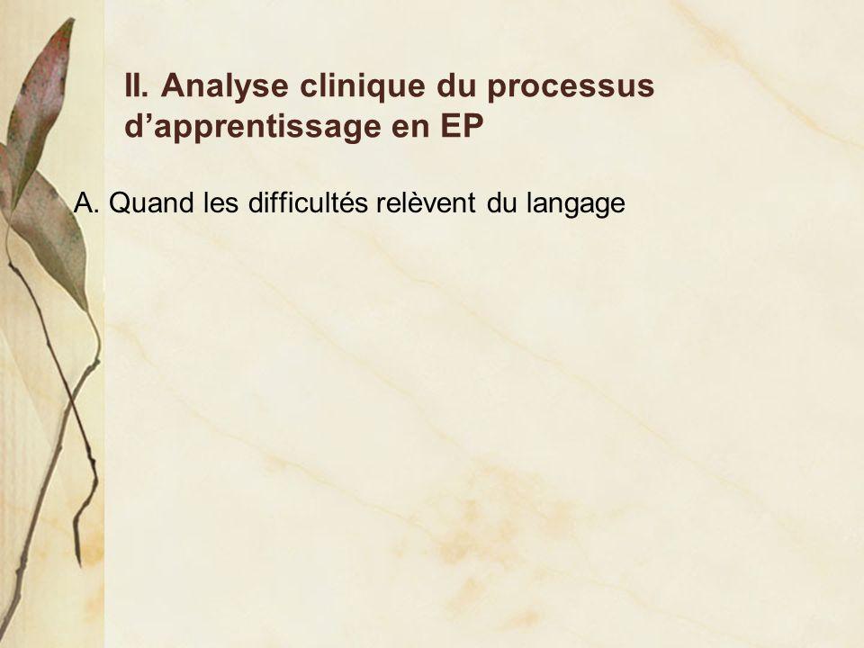A. Quand les difficultés relèvent du langage II. Analyse clinique du processus dapprentissage en EP