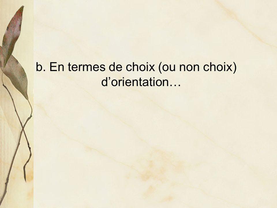 b. En termes de choix (ou non choix) dorientation…