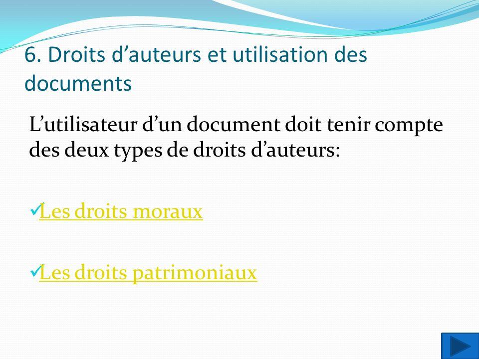 6. Droits dauteurs et utilisation des documents Lutilisateur dun document doit tenir compte des deux types de droits dauteurs: Les droits moraux Les d
