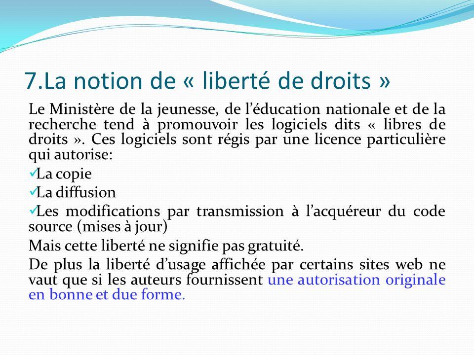 7.La notion de « liberté de droits » Le Ministère de la jeunesse, de léducation nationale et de la recherche tend à promouvoir les logiciels dits « libres de droits ».