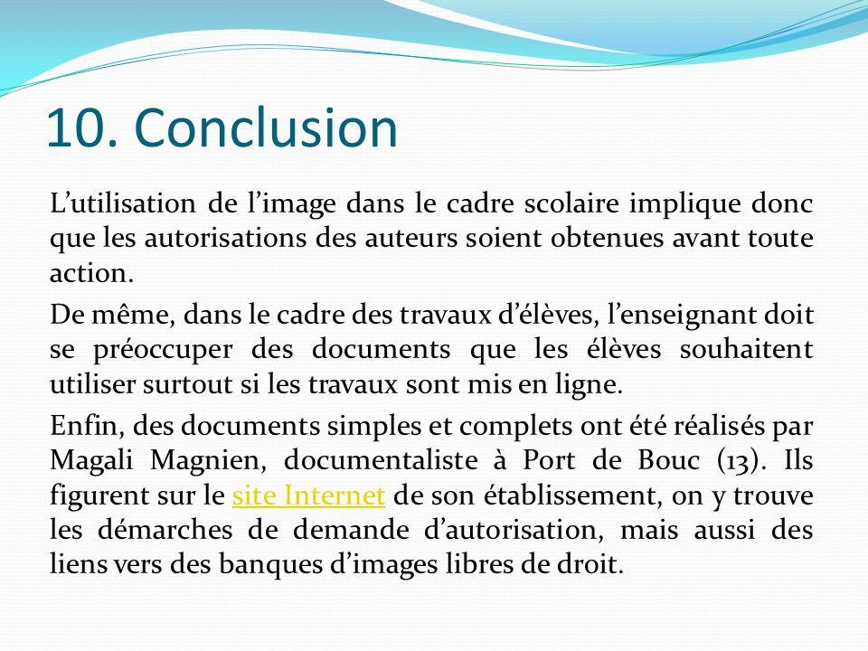 10. Conclusion Lutilisation de limage dans le cadre scolaire implique donc que les autorisations des auteurs soient obtenues avant toute action. De mê