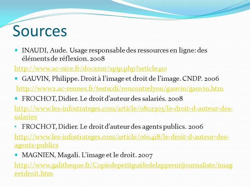 Sources INAUDI, Aude. Usage responsable des ressources en ligne: des éléments de réflexion.