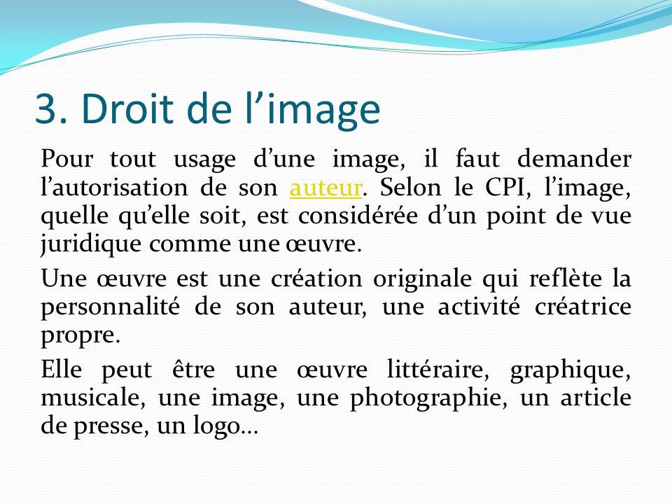 3. Droit de limage Pour tout usage dune image, il faut demander lautorisation de son auteur.