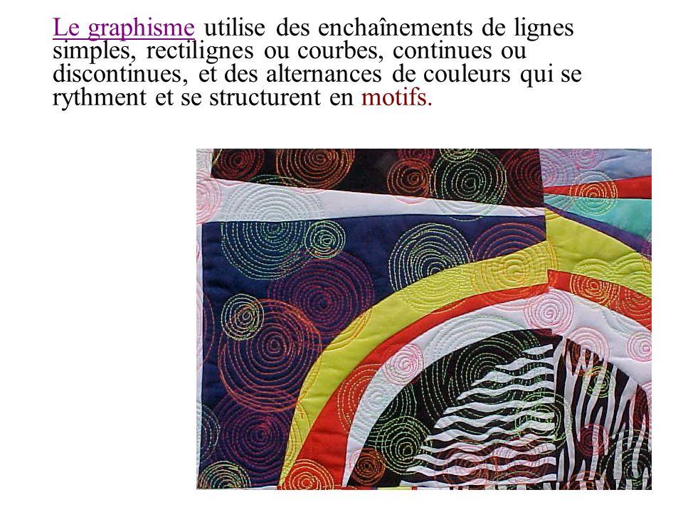 Le graphisme utilise des enchaînements de lignes simples, rectilignes ou courbes, continues ou discontinues, et des alternances de couleurs qui se ryt