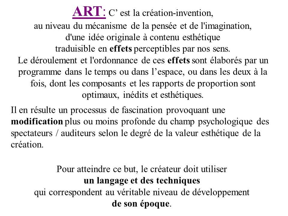 ART: C est la création-invention, au niveau du mécanisme de la pensée et de l'imagination, d'une idée originale à contenu esthétique traduisible en ef
