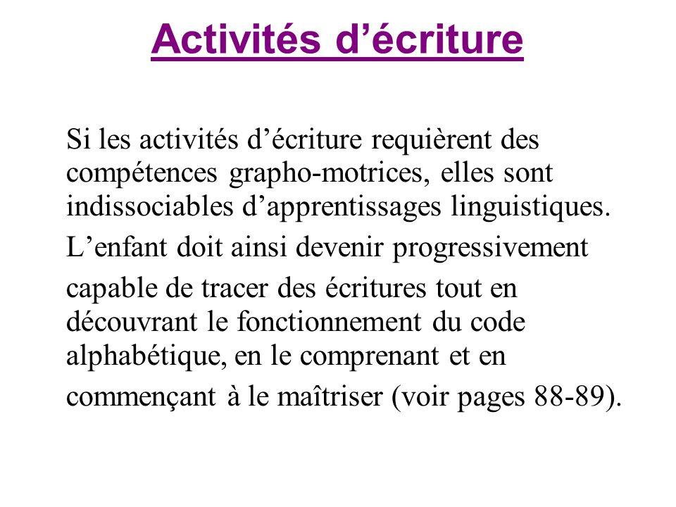 Activités décriture Si les activités décriture requièrent des compétences grapho-motrices, elles sont indissociables dapprentissages linguistiques. Le
