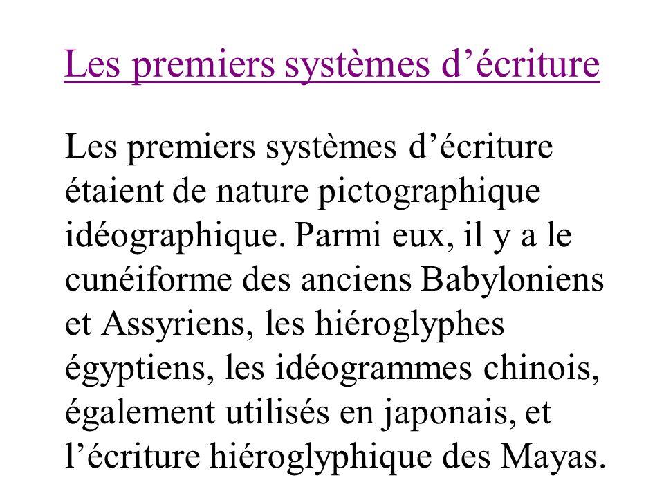 Les premiers systèmes décriture Les premiers systèmes décriture étaient de nature pictographique idéographique. Parmi eux, il y a le cunéiforme des an
