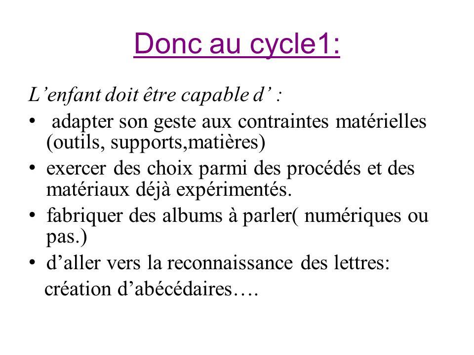 Donc au cycle1: Lenfant doit être capable d : adapter son geste aux contraintes matérielles (outils, supports,matières) exercer des choix parmi des pr