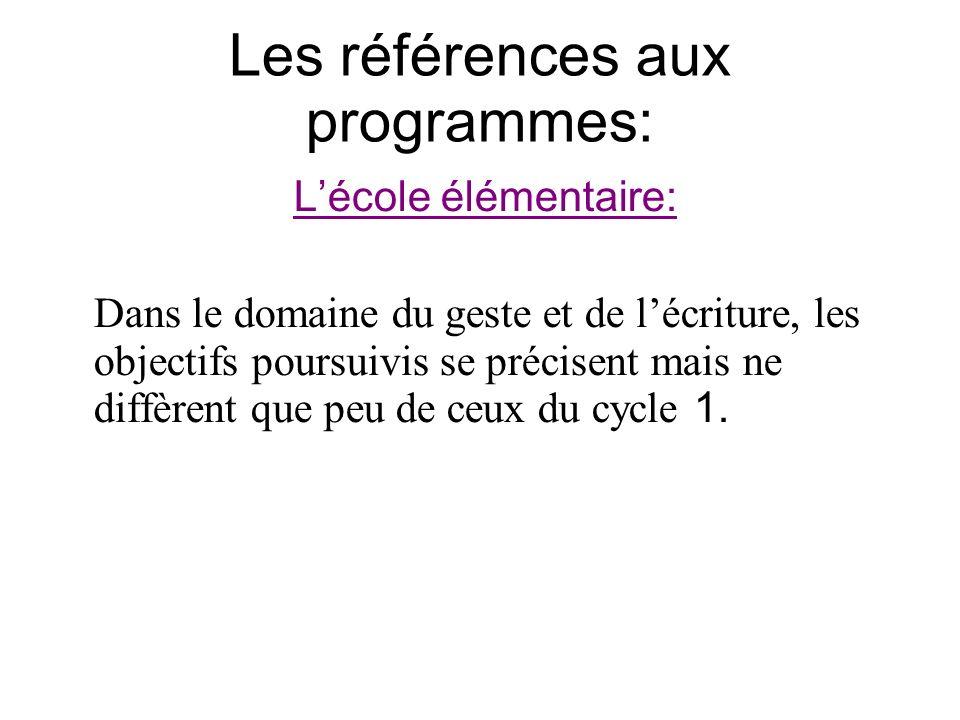 Les références aux programmes: Lécole élémentaire: Dans le domaine du geste et de lécriture, les objectifs poursuivis se précisent mais ne diffèrent q
