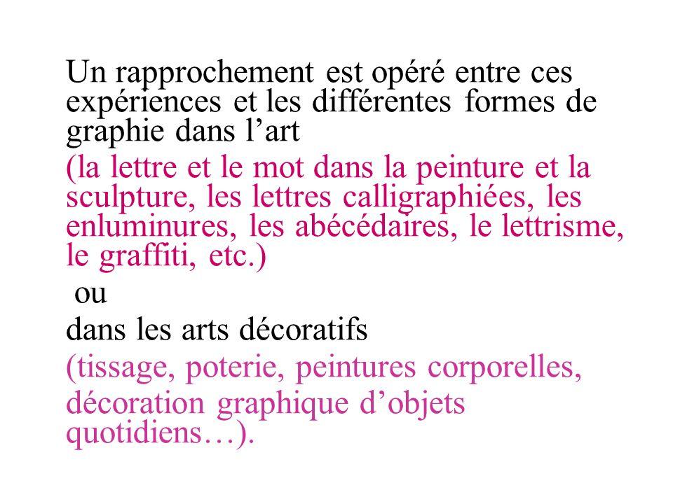Un rapprochement est opéré entre ces expériences et les différentes formes de graphie dans lart (la lettre et le mot dans la peinture et la sculpture,