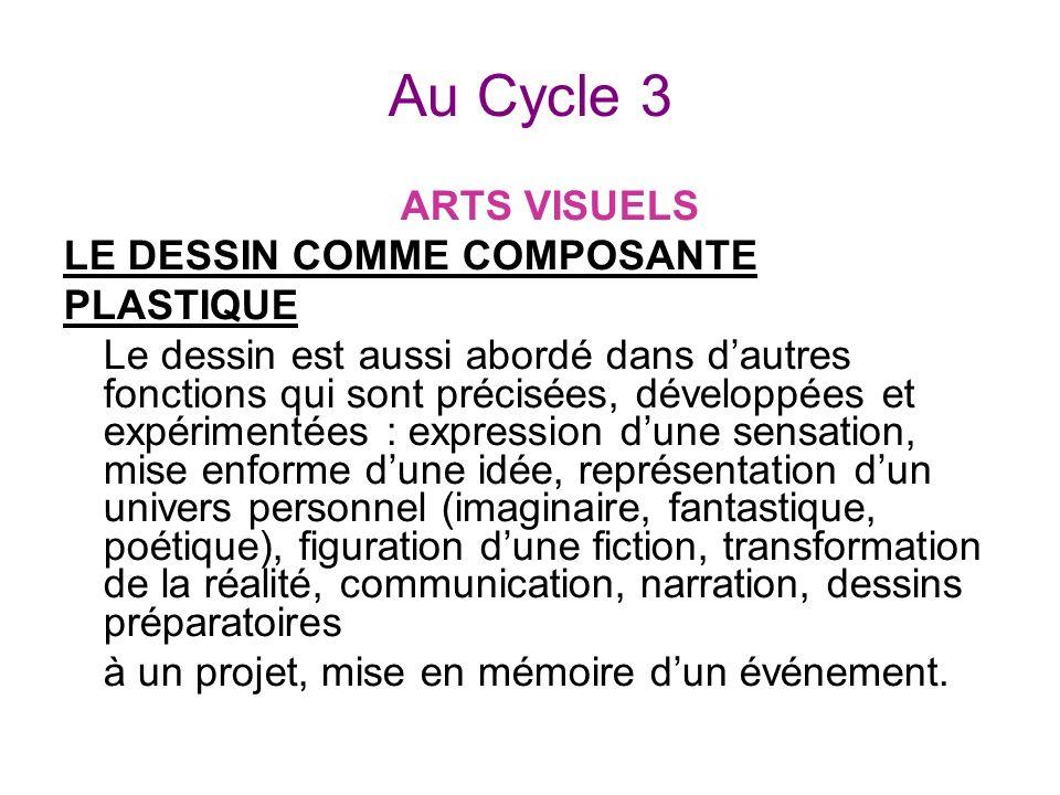 Au Cycle 3 ARTS VISUELS LE DESSIN COMME COMPOSANTE PLASTIQUE Le dessin est aussi abordé dans dautres fonctions qui sont précisées, développées et expé