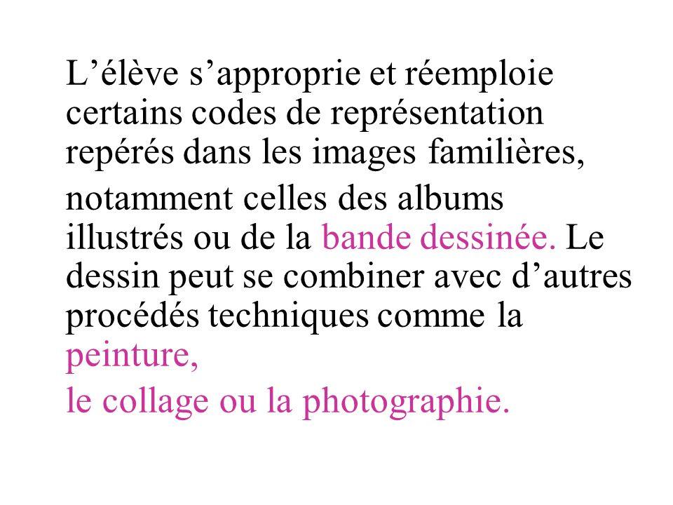 Lélève sapproprie et réemploie certains codes de représentation repérés dans les images familières, notamment celles des albums illustrés ou de la ban